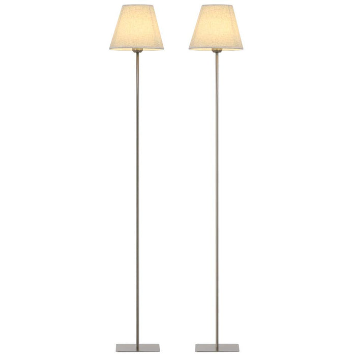 HAITRAL Silver Metal Tall Modern Floor Lamps Set Standing Light Lamp Fabric Shade (HT-TH30-11X2)
