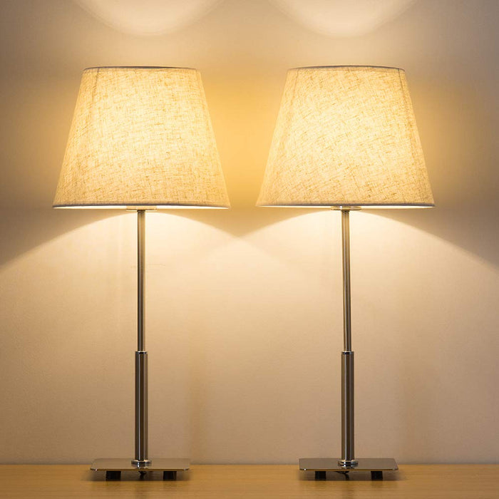 HAITRAL Silver Metal Modern Lamp Set Linen Fabric Shade Square Base  (HT-TH50-29)