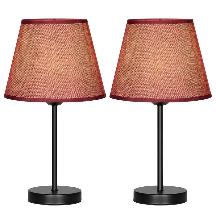 HAITRAL Two Modern Red Modern Bed Lamp Vintage Accent Lamp  (HT-TH69-34X2)