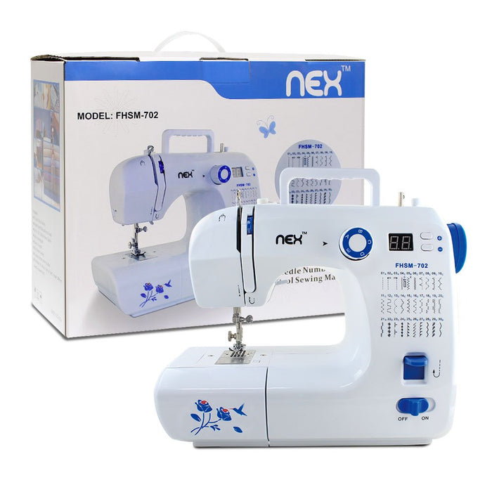 NEX Electric Multifunctional Portable Professional Sewing Machine, with 30 Built-In Stitch Patterns, LED Lights, Reverse Stitch Function, Interchangeable Foot, Multi-Switch Patterns, Storage Drawer- Blue Color (NE-CS114WBL)