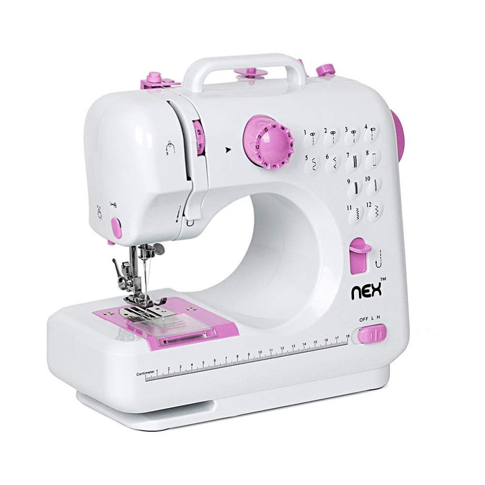 NEX Multifunctional Portable Professional Sewing Machine, with 12 Built-In Stitch Patterns, LED Lights, Interchangeable Foot, Multi-Switch Patterns, Storage Drawer-Pink Color (NE-CS141W-M)