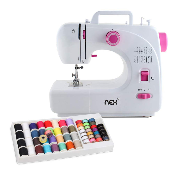 NEX Multifunctional Portable Professional Sewing Machine, with Two Speed Control, Double Thread, 16 Pre-Set Stitches, LED Lights, Safety Cover, Thread Cutter, Storage Box, Built-In Bobbin Winding Facility- Pink Color (NE-CS141W)