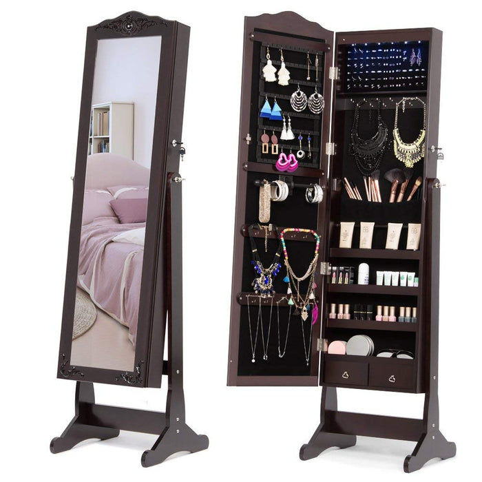 NEX Lockable Full-Length Jewelry Armoire Mirror- Equipped with 6 LED Lights, 2 Drawers with Exquisite Carved, Dark Brown Color (NX-DA025)