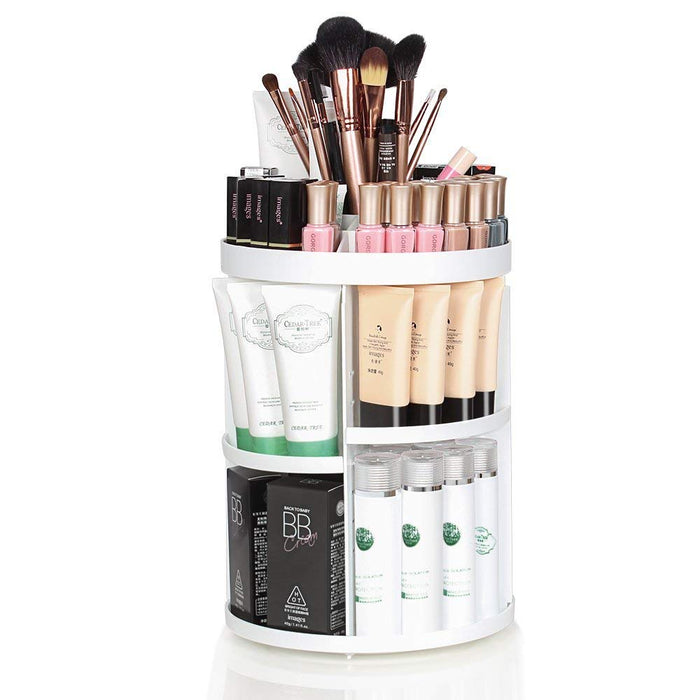 NEX 360 Degree Rotatable Makeup Organizer- Large Capacity, DIY Detachable Cosmetic Storage Box, Makeup Brushes Organizer, Lipsticks-White Color (NX-DA027)