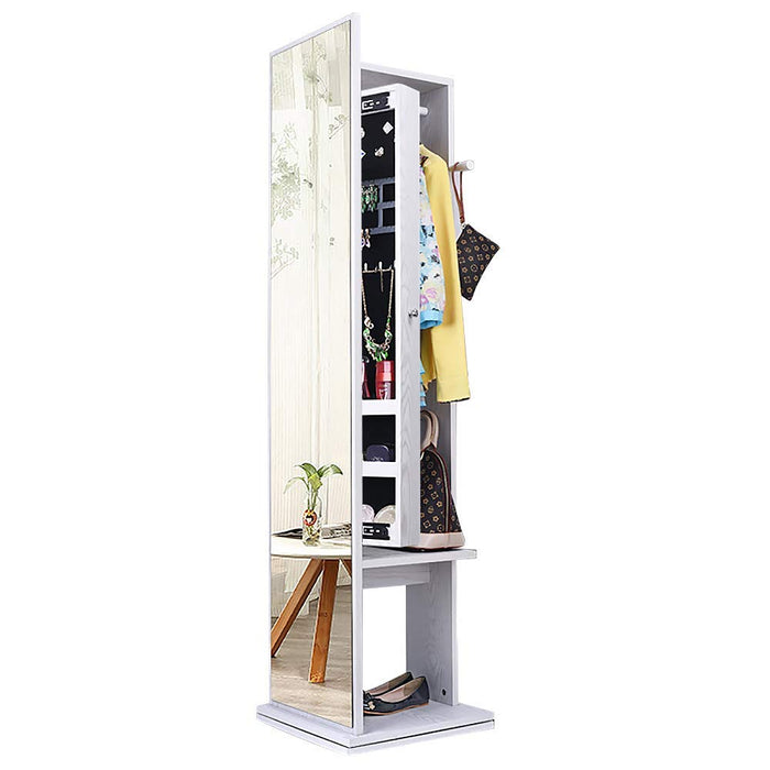 NEX 360 Degree Rotatable Standing Jewelry Cabinet- Full-Length Mirror, Lockable Safe, Armoire Organizer, Garment Rack, Hooks (NX-DA034)