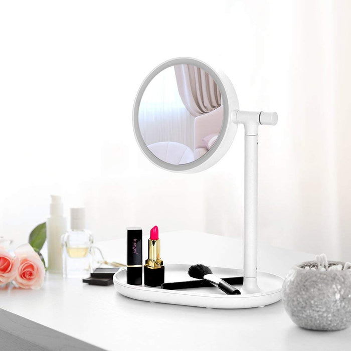 NEX 270-Degree Adjustable Light Makeup Vanity- With, Push Magnification, USB Charging-Pink Color-White Color (NX-DA037)