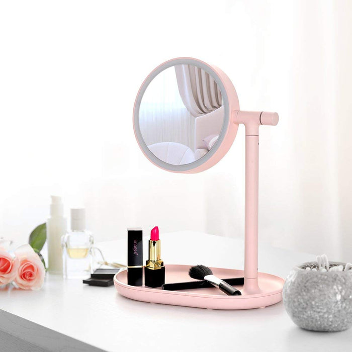 NEX 270-Degree Adjustable Light Makeup Vanity- With, Push Magnification, USB Charging-Pink Color (NX-DA038)