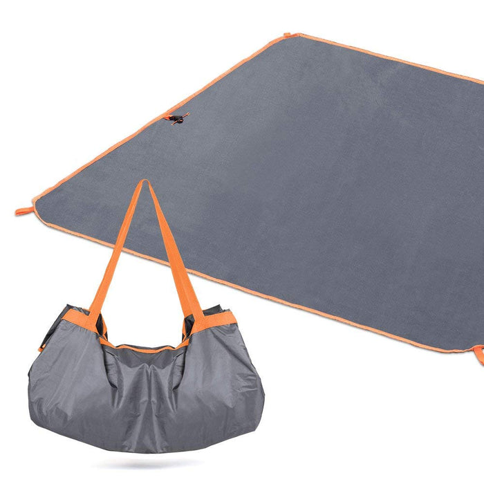 "NEX Compact 57""x 57"" Beach Blanket - Waterproof Ground Cover with Tote, Camping Mat for Outdoor, Beach Hiking Travel- Grey Color (NX-EN-017-1)"