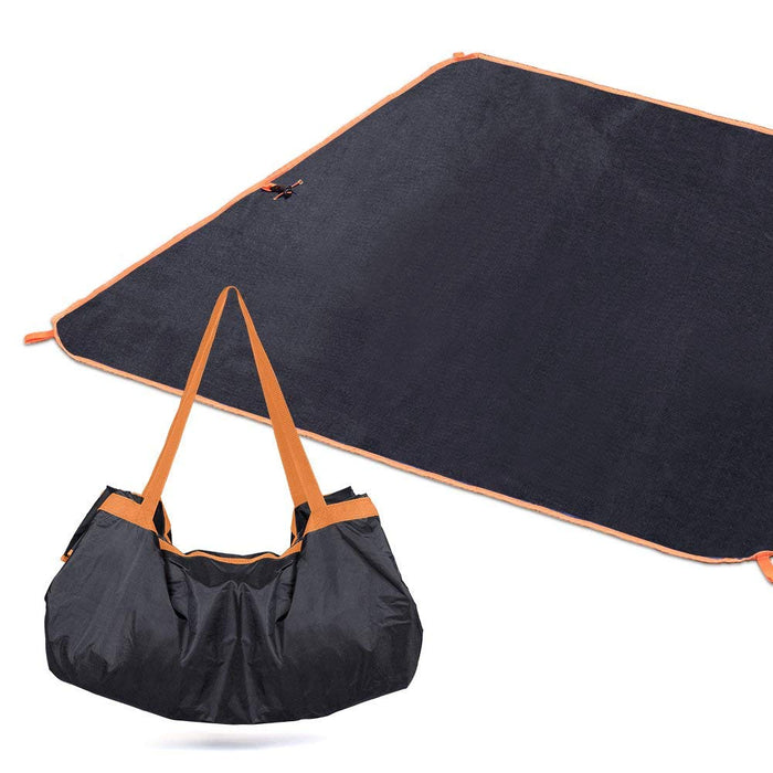 "NEX Compact 57""x 57"" Beach Blanket - Waterproof Ground Cover with Tote, Camping Mat for Outdoor, Beach Hiking Travel- Black Color (NX-EN-017-2)"