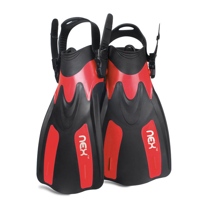 NEX Adult Adjustable Snorkeling Diving Fin- Short Blade, Adjustable Flippers, Diving Equipment, 1 Pair – Red Color (NX-G009-XS-M)