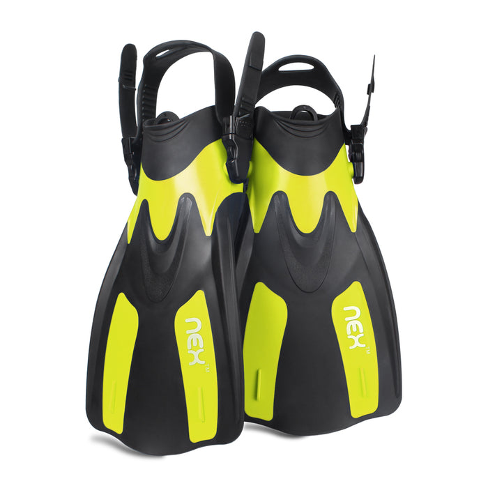 NEX Adult Adjustable Snorkeling Diving Fin- Short Blade, Adjustable Flippers, Diving Equipment, 1 Pair – Yellow Color (NX-G010-M-XL)