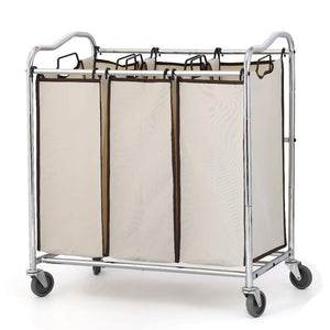 NEX 3-Bag Laundry Sorter Rolling Laundry Hamper Sorter Cart with Removable Bags Chrome (NX-HK57-27)