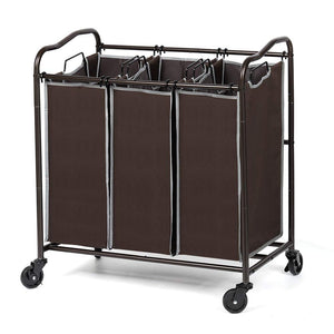 NEX 3-Bag Laundry Sorter Rolling Laundry Hamper Sorter Cart with Removable Bags Dark Brown (NX-HK60-17)