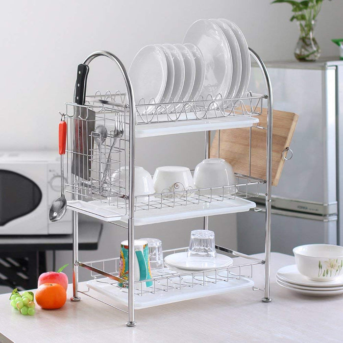 NEX Three-Tier Stainless Steel Dish Rack With Draining Rack, Anti-Rust Storage Rack With Utensil Holder, Chopping Board Holder (NX-KD23-31S)