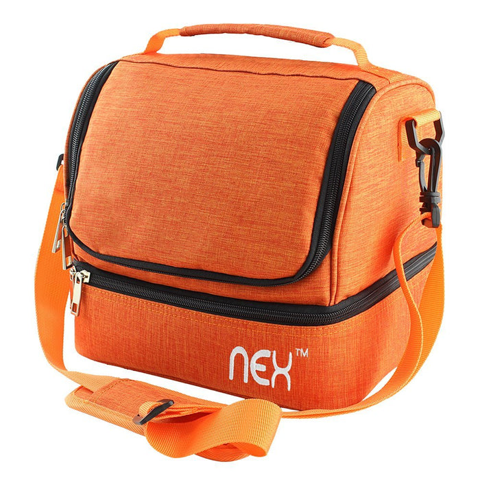 NEX Orange Double Cooler Lunch Box- Insulated Tote with Large Capacity, Adjustable Shoulder Strap and Zipper Closure For Easy Access and Travel- Orange Color (NX-LUNCHBAG-5)