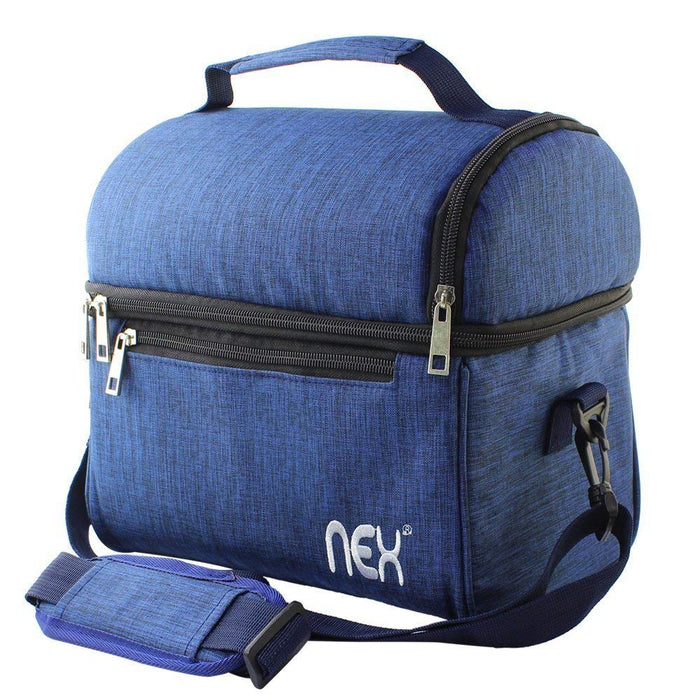 NEX Blue Double Cooler Lunch Box- Insulated Tote with Large Capacity, Adjustable Shoulder Strap and Zipper Closure For Easy Access and Travel- Blue Color (NX-LUNCHBAG-6)