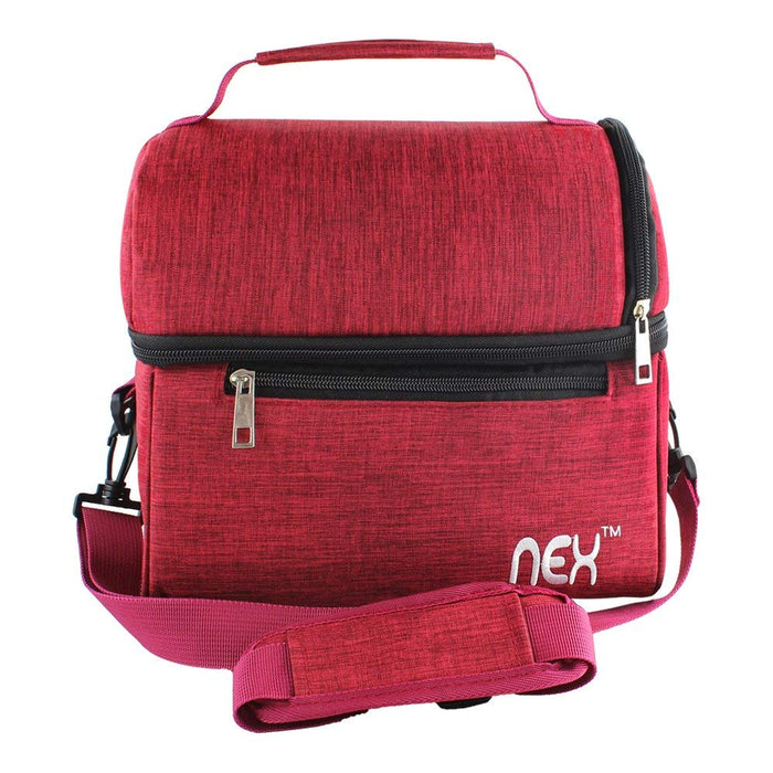 NEX Red Double Cooler Lunch Box- Insulated Tote with Large Capacity, Adjustable Shoulder Strap and Zipper Closure For Easy Access and Travel- Red Color (NX-LUNCHBAG-7)