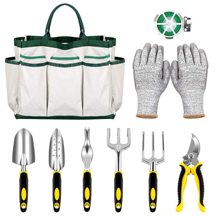 NEX 9-Piece Gardening Tool Set- Heavy Duty Gardening Kit, With Plant Rope, Gardening Gloves, Storage Tote, and 6 Piece Gardening Tools (NX-PL04-14)