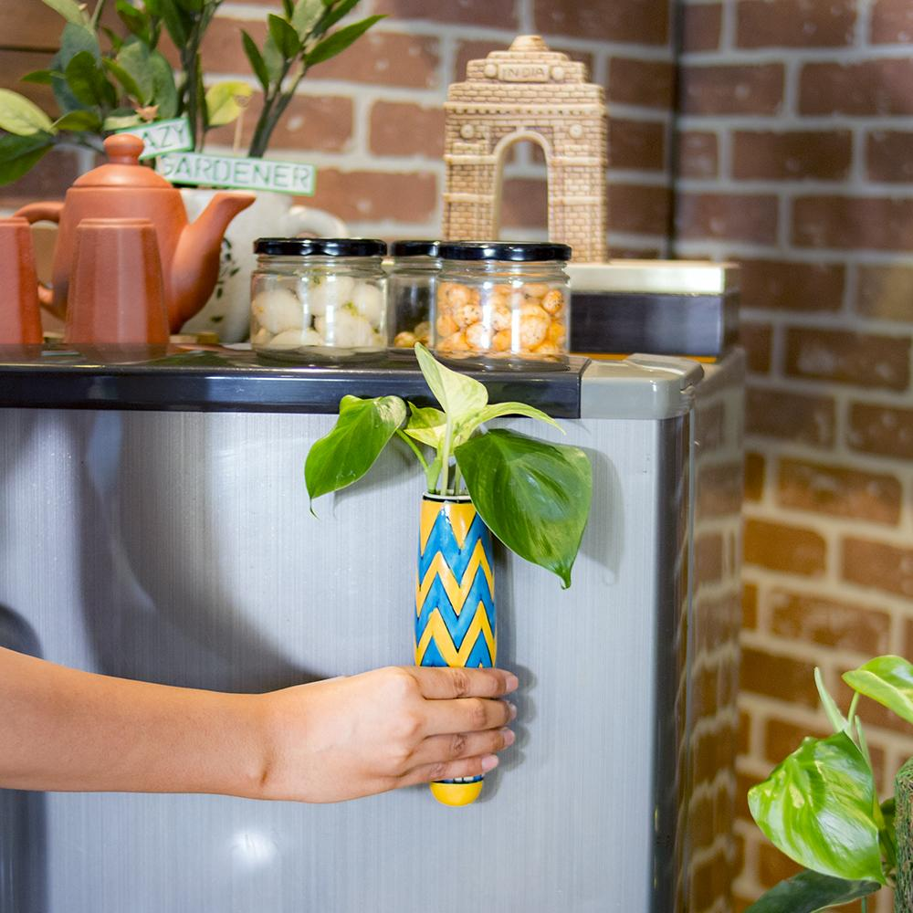 Magnetic Hydroponic Planter(Handmade) - Blue & Yellow Magnetic Hydroponic Planter LazyGardener