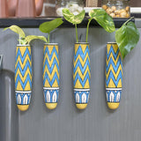Magnetic Hydroponic Planter(Handmade) - Blue & Yellow Magnetic Hydroponic Planter LazyGardener Pack of 4