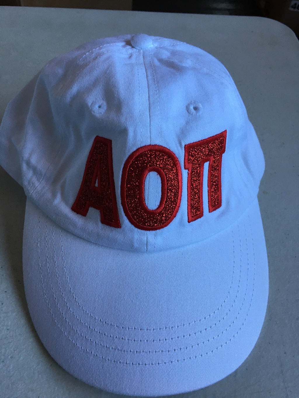 White with Glitter Red Letters Hat