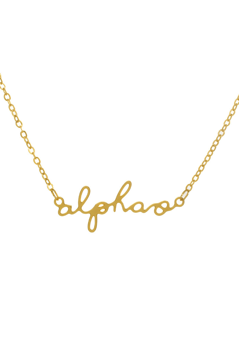Gold Plated Script Necklace