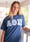 Blue and White Lettered Shirt