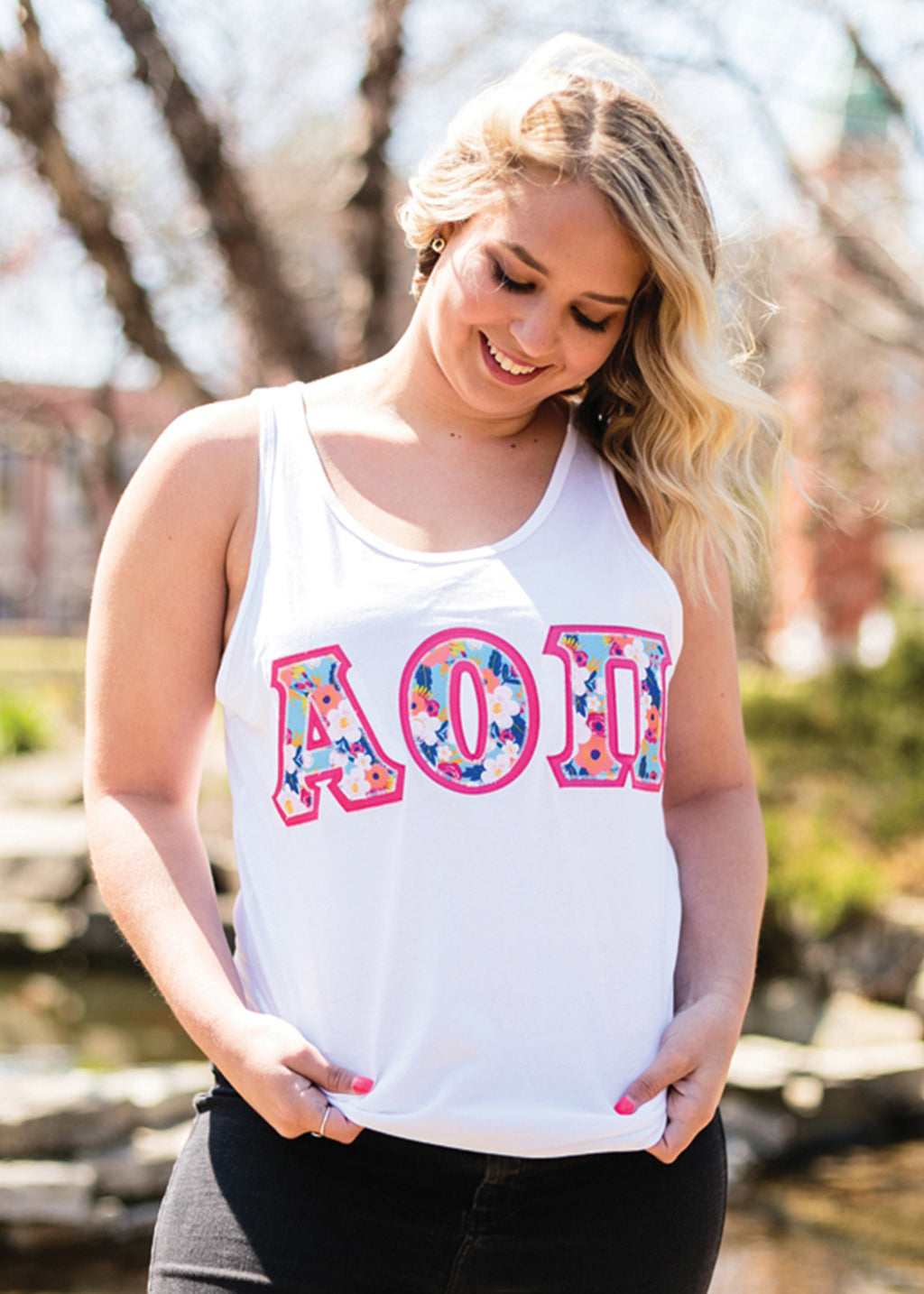 In Bloom Block Letter Tank