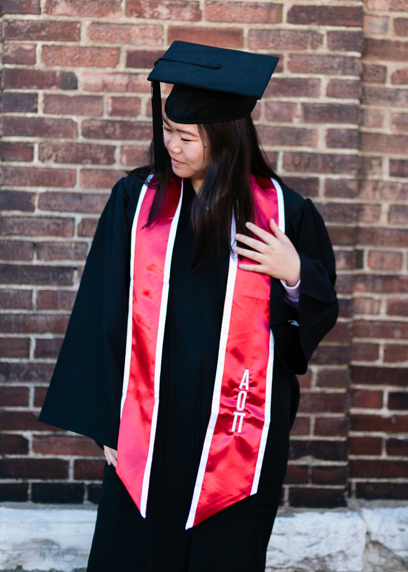 Red Graduation Stole with White Trim