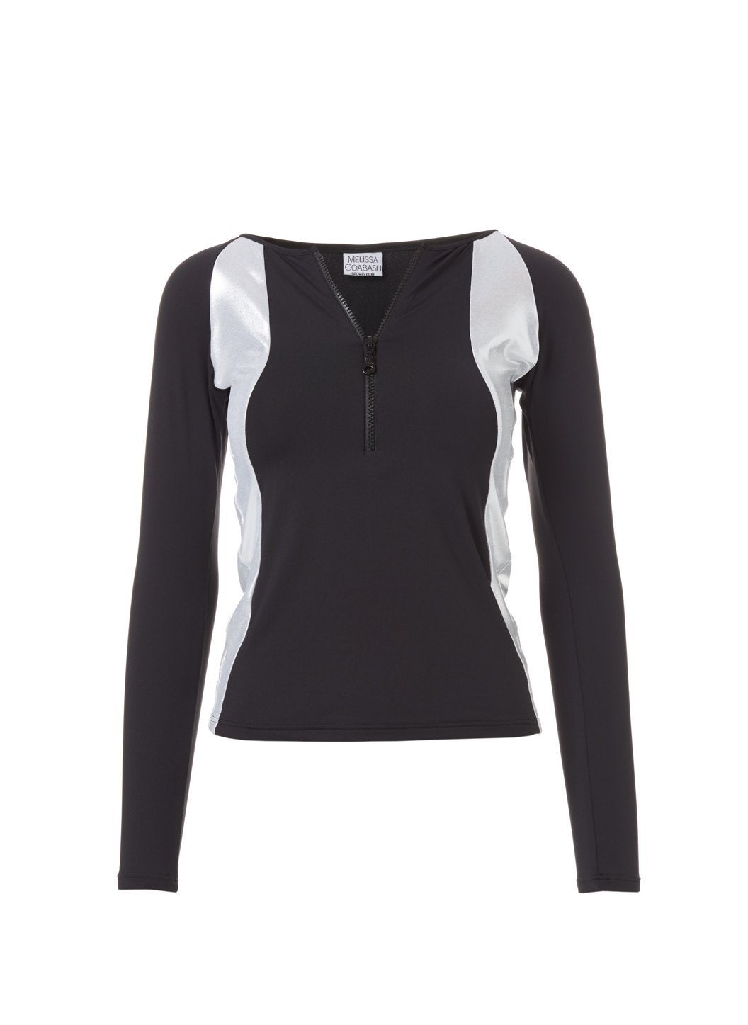 Bondi Black Silver Long Sleeve Rash Vest Top