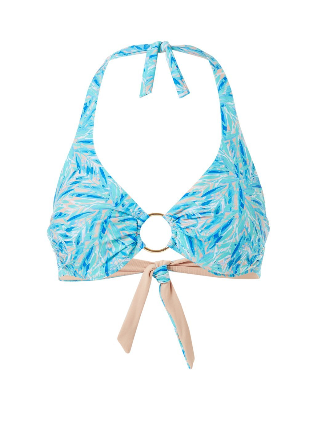 Brussels Blue Leaf Halterneck Ring Supportive Bikini Top