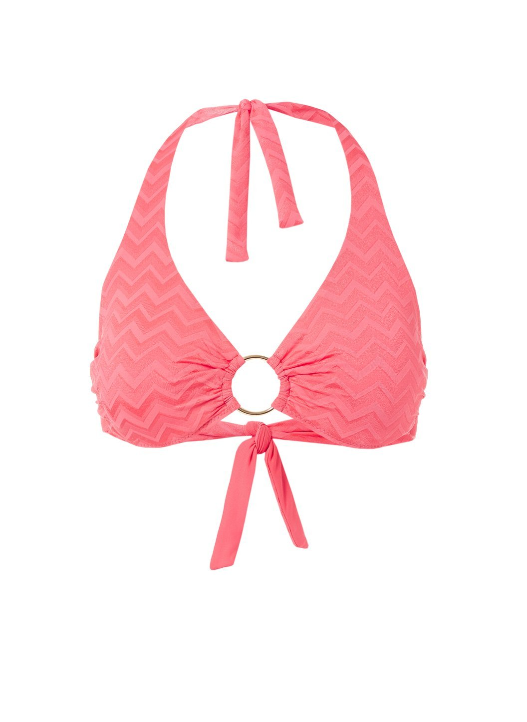 Brussels Coral Wave Halterneck Ring Supportive Bikini Top