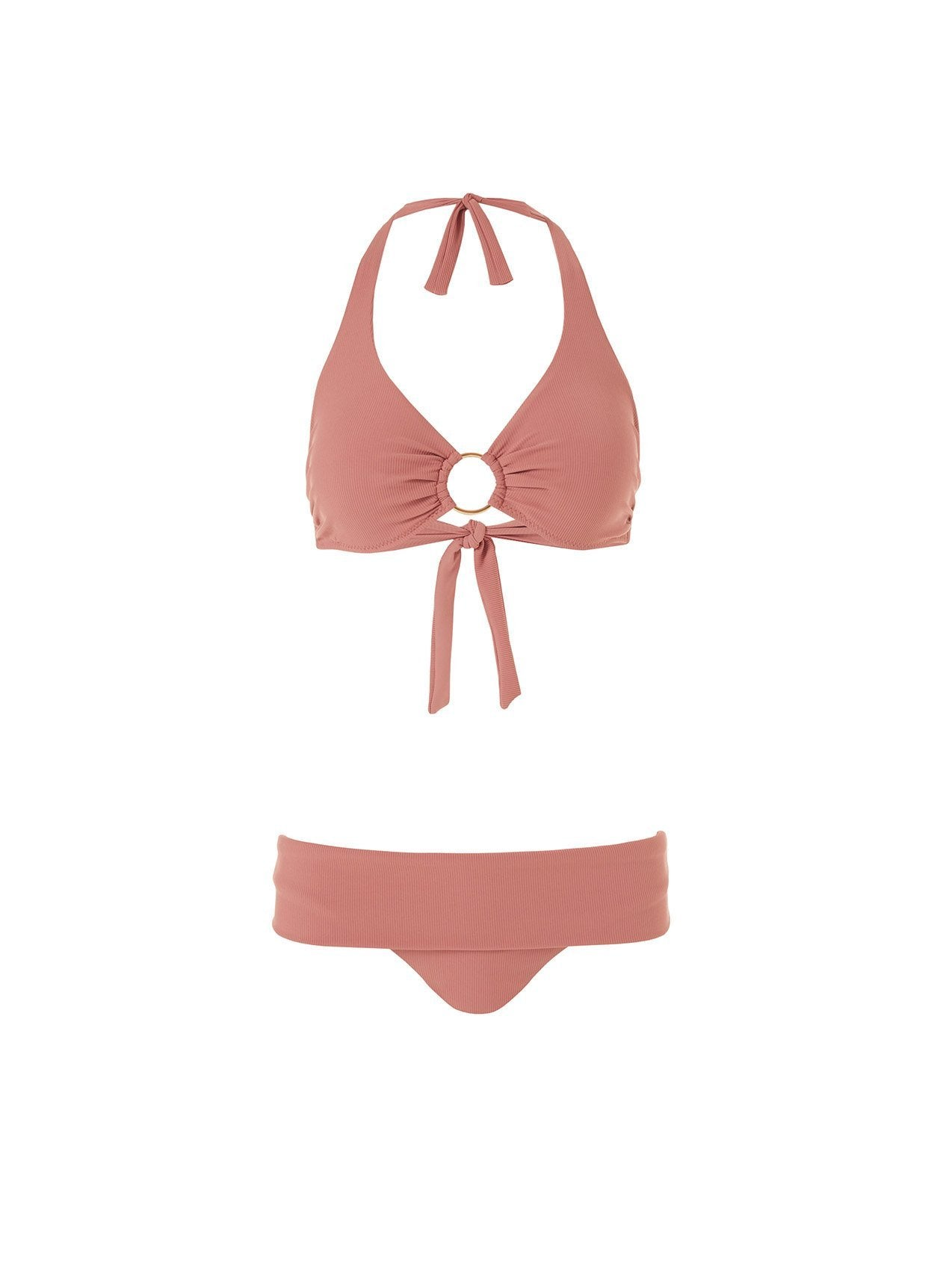 brussels dusty rose ribbed supportive bikini