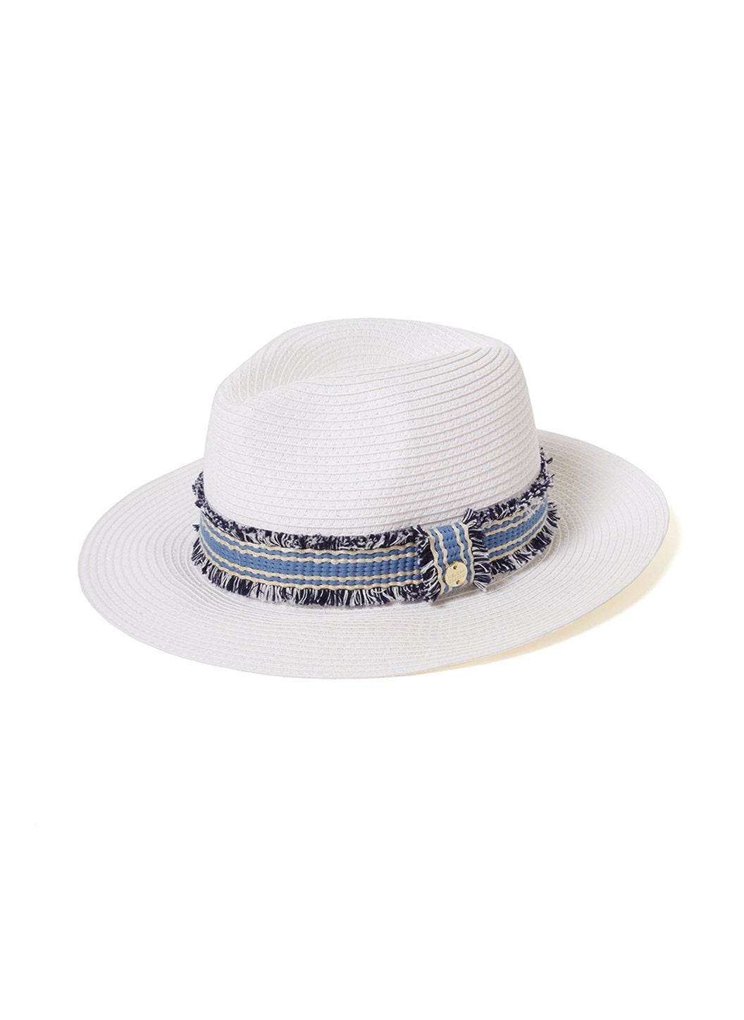 Fedora Hat White/Blue