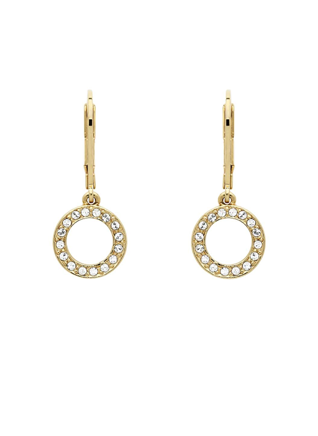 Gold Swarovski Loop Back Earrings