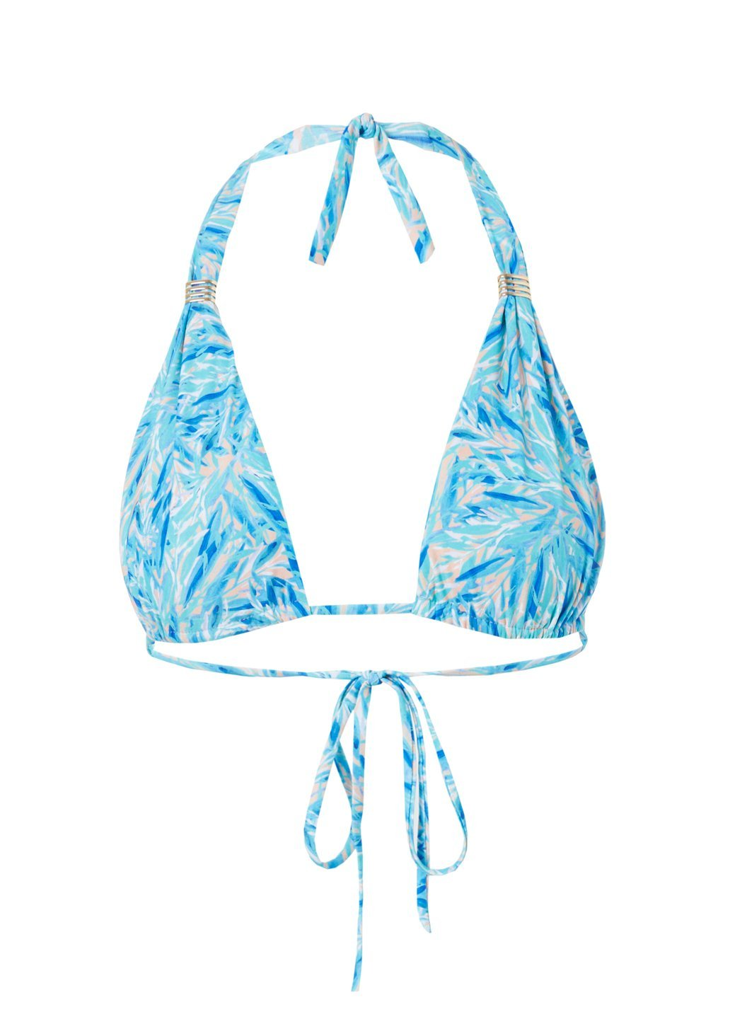 Grenada Blue Leaf Adjustable Halterneck Bikini Top