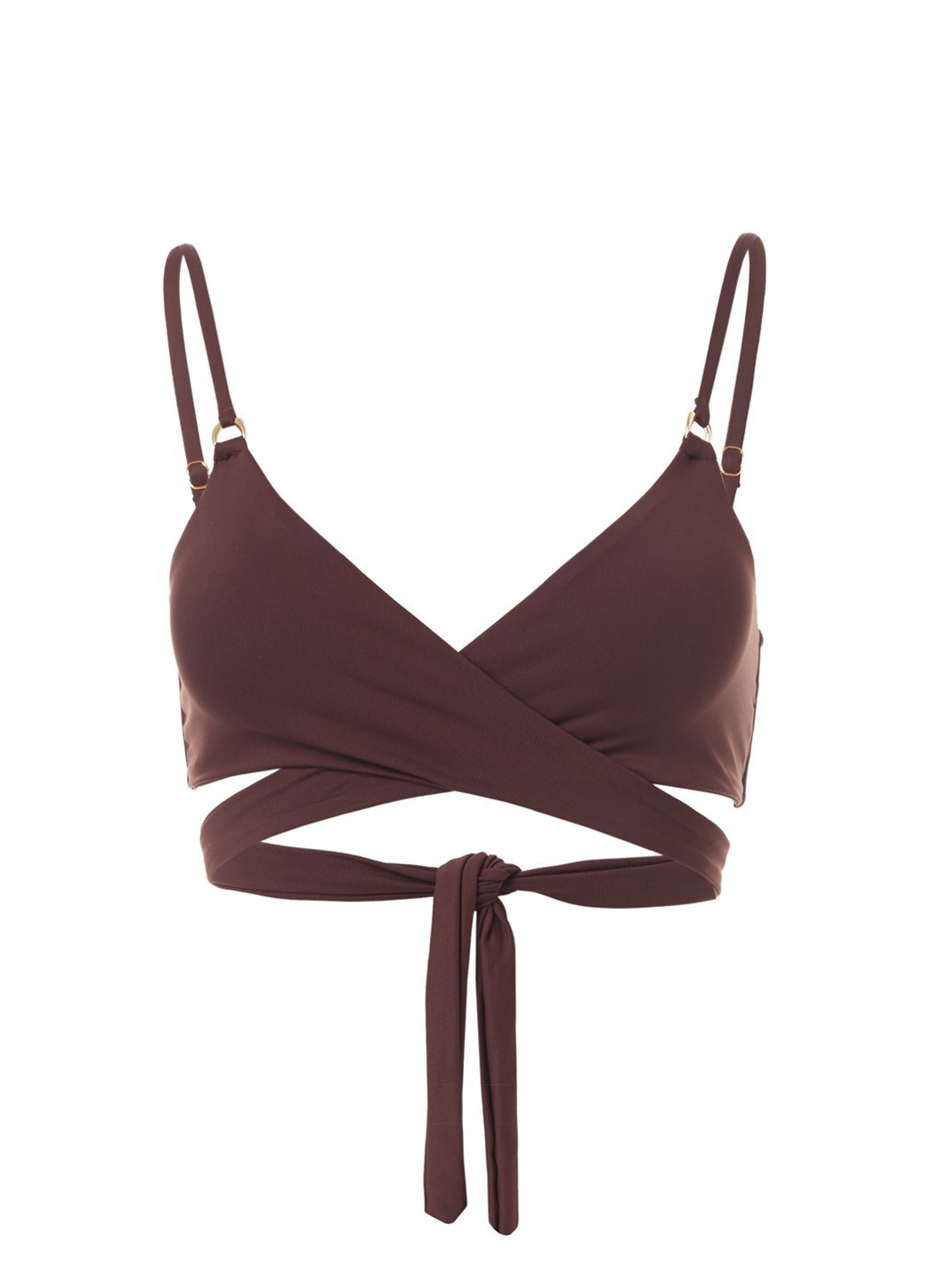Indonesia Walnut Over The Shoulder Wrap Bikini Top
