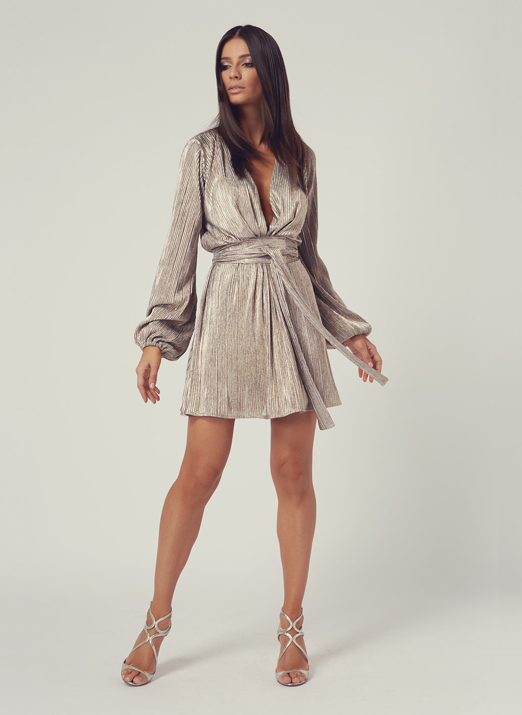 Look 1 Blouson Sleeve Mini Dress Metal