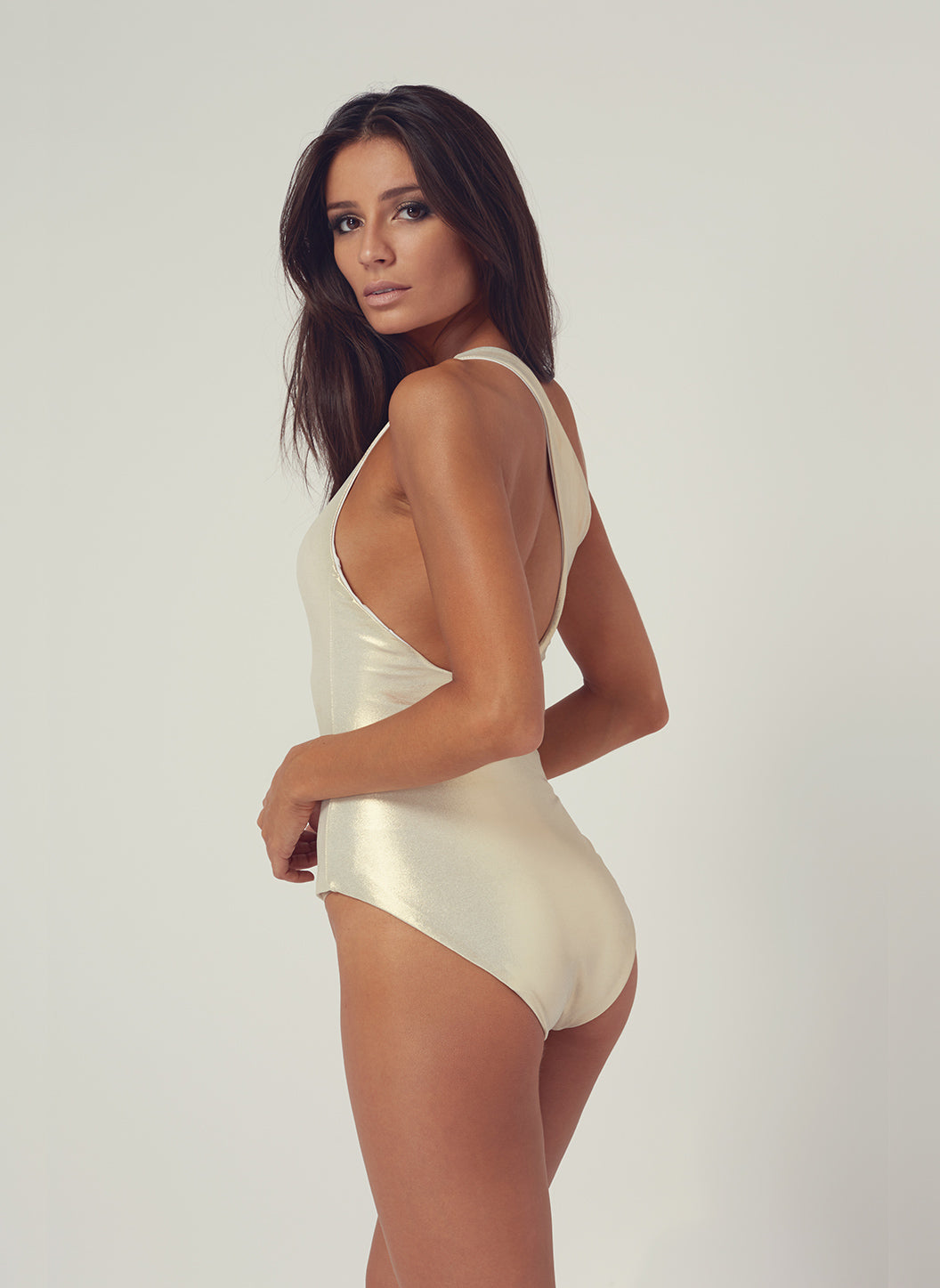 Look 22 One Shoulder Onepiece Gold