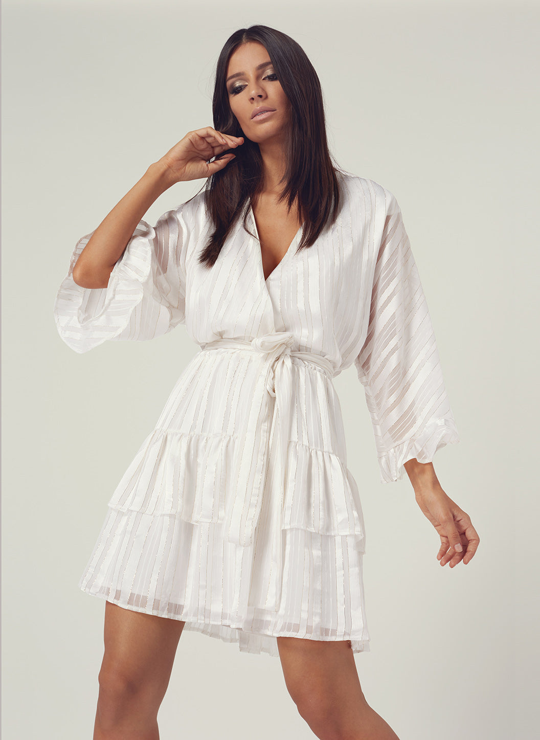 Look 8 Flare Sleeve Mini Dress Pearl