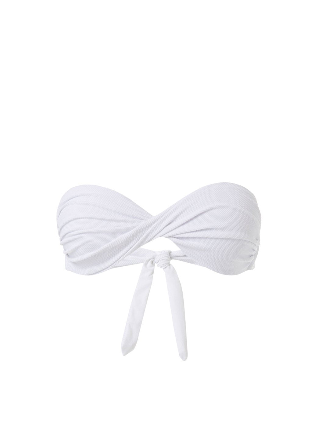 Martinique White Pique Bandeau Padded Twist Bikini Top