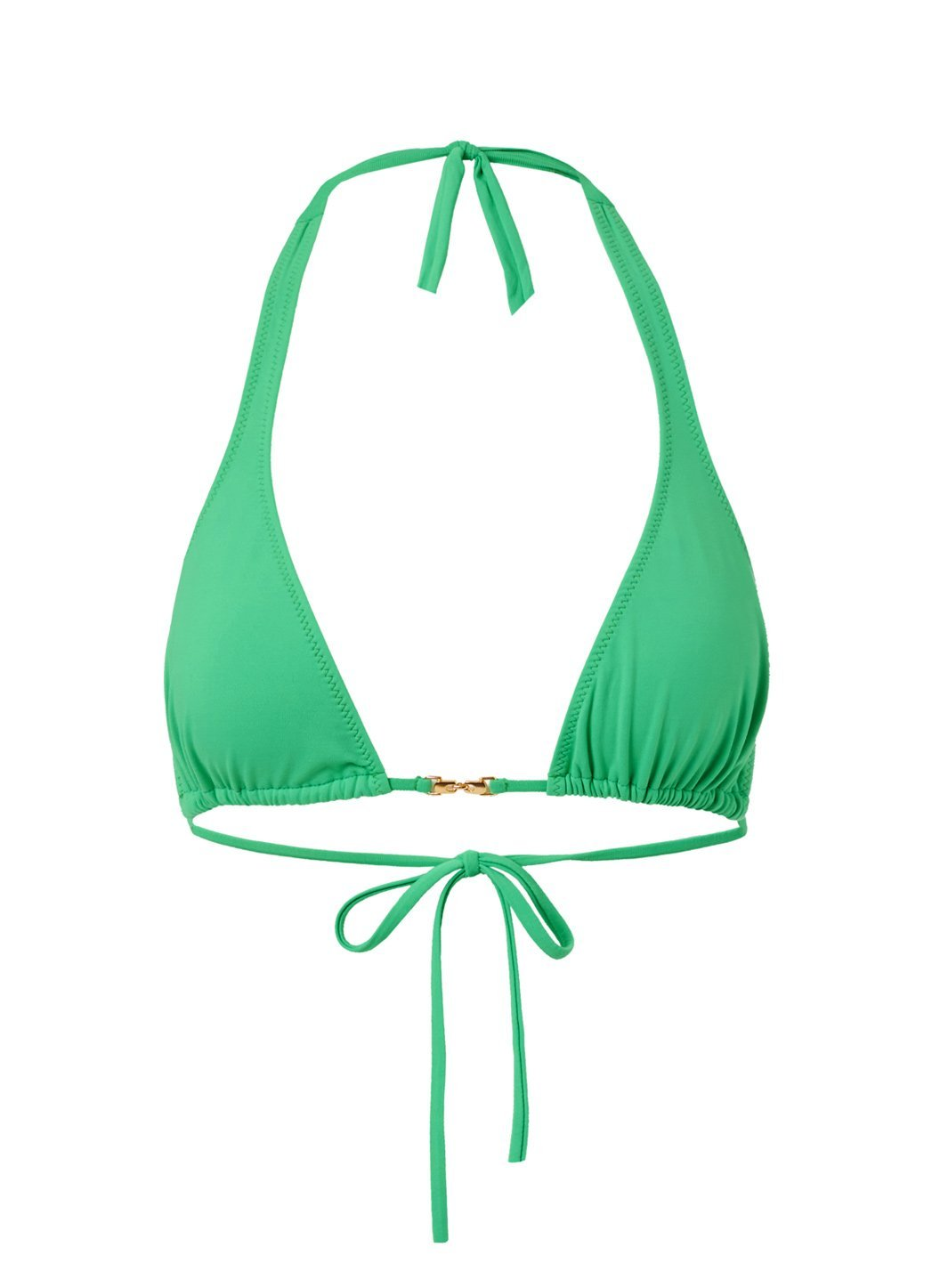 Mustique Green Halterneck Gold Link Bikini Top