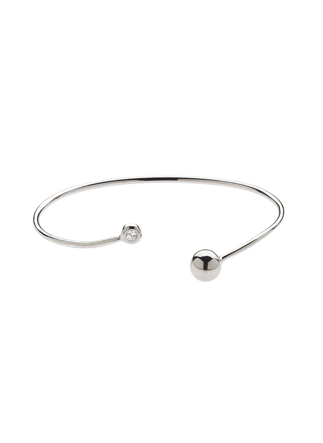 Rhodium Swarovski Ball Bangle