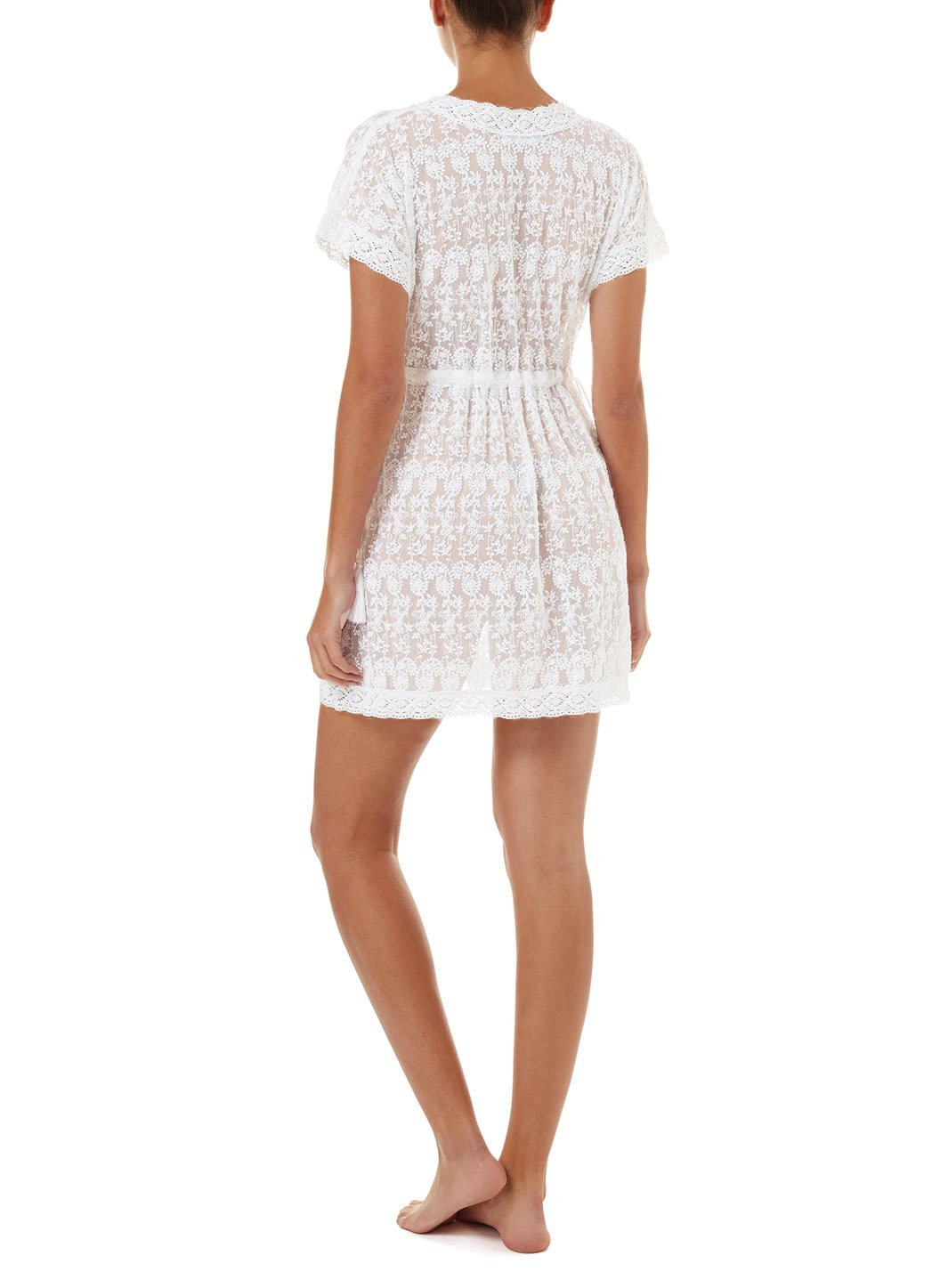 adelina white embroidered short tieside beach dress 2019 B