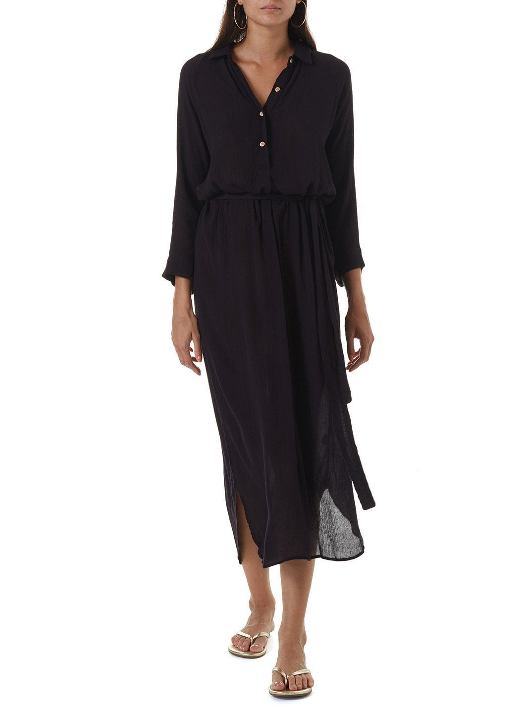 alesha black long shirt dress