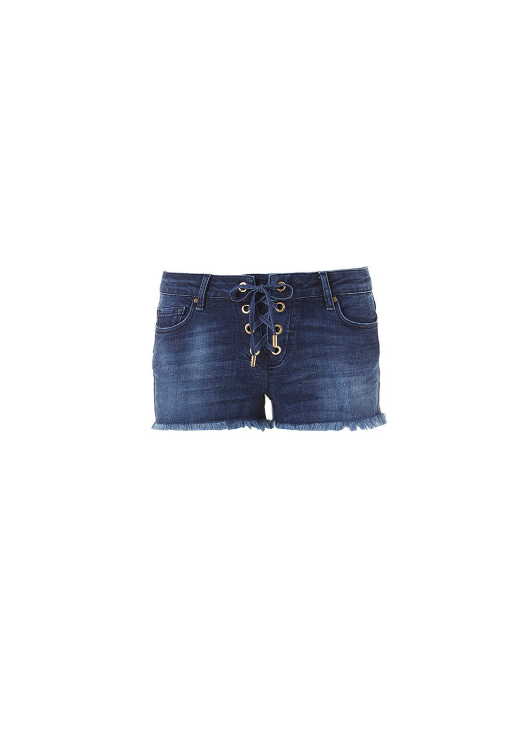 alexi blue denim laceup shorts 2019