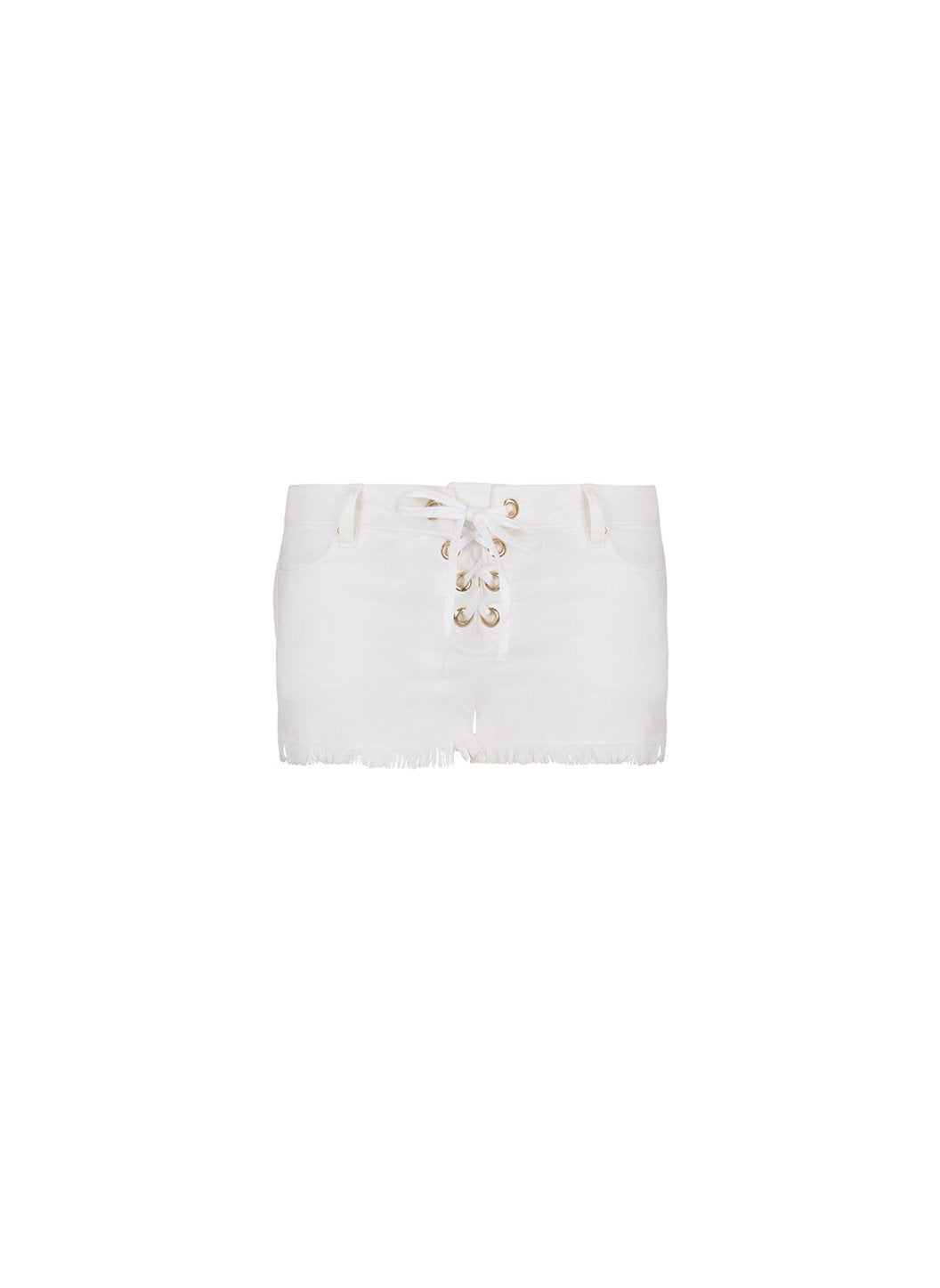 alexi white denim laceup shorts 2019