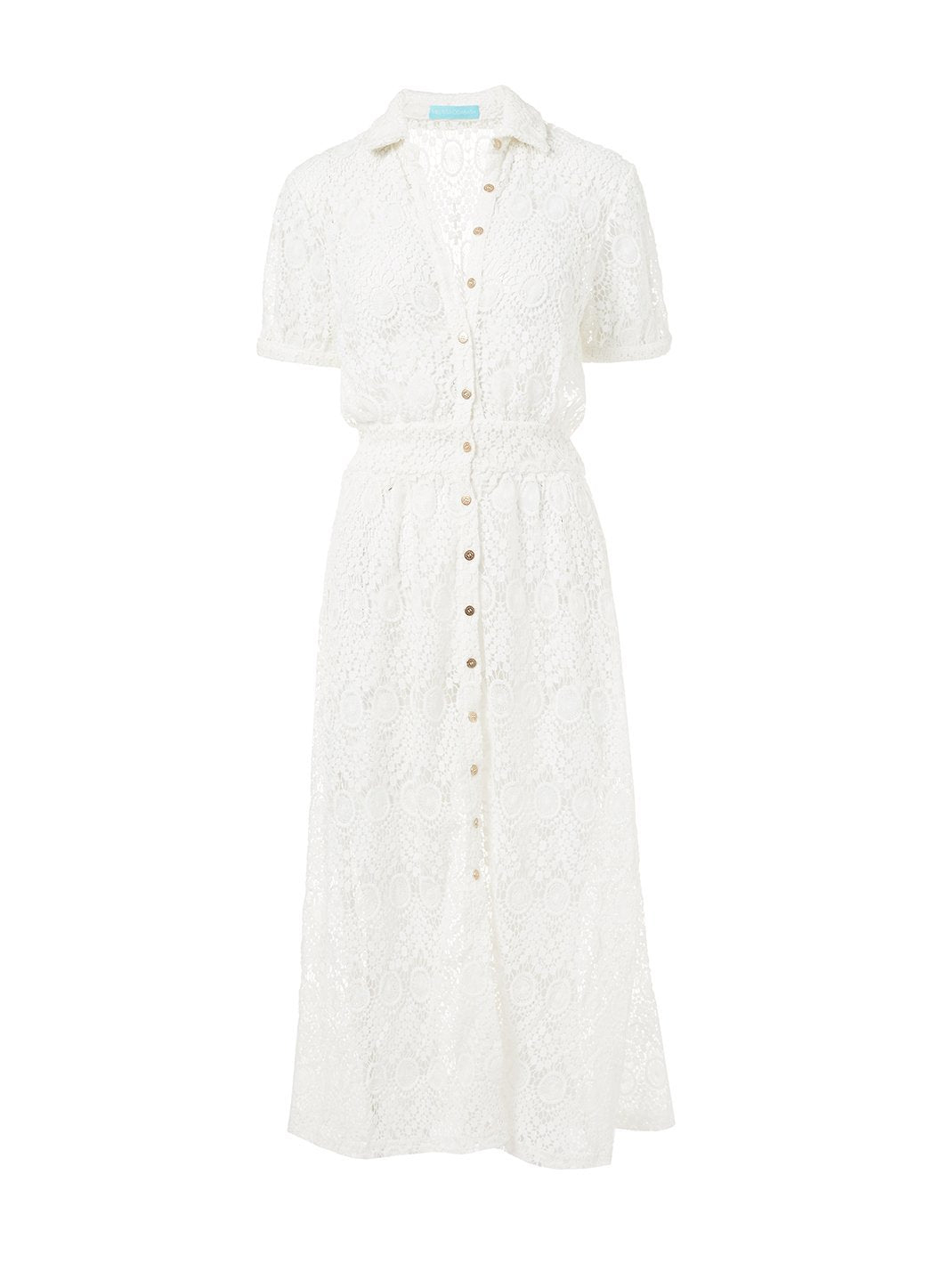 april white lace midi button down shirt dress 2019