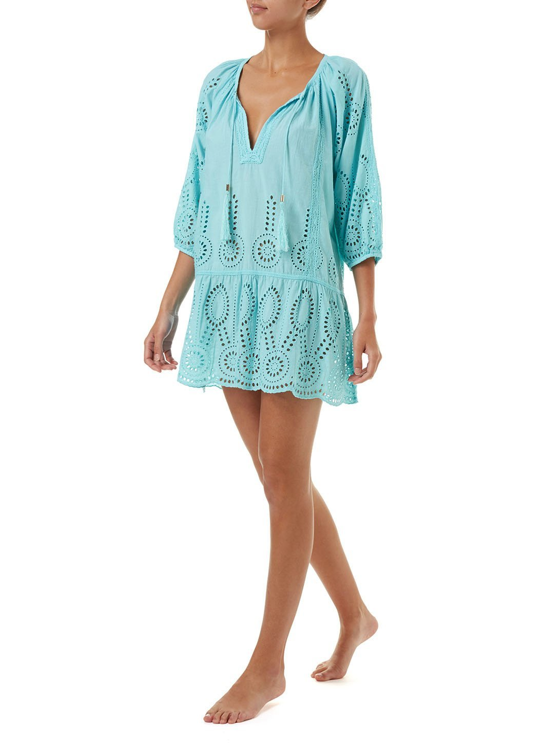 ashley sky embroidered 34sleeve short coverup 2019 F