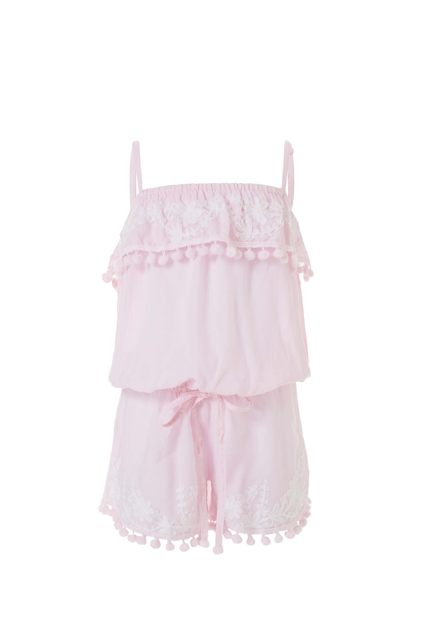 Baby Eisha Blush/White Embroidered Romper